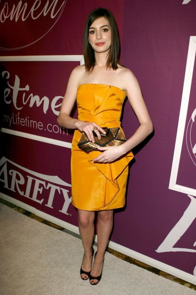 Anne Hathaway wearing Lela Rose spring 2010