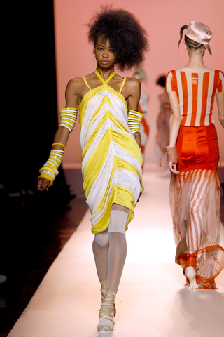 yellow pulled off in a different and quirky way on jean paul gaultier 2010 (so 'gaultier' to twist the trends in creative ways)