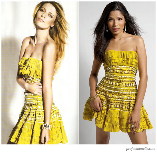 misha barton and freida pinto wearing yellow Dior dress