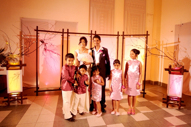 the screens were beautifully lit for the night's reception and look at those lovely flower girls and boys, they all look so cute in the designed outfits. :) this picture is a memorable one for me