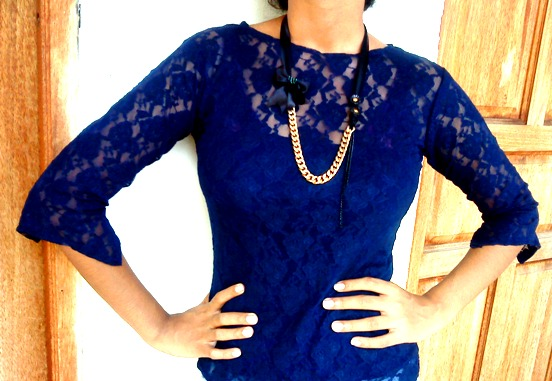 I'm wearing my sewn blue lace top and the necklace I made