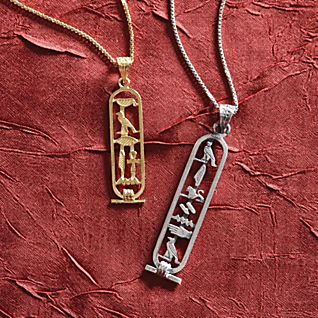 personalised egyptian cartouche pendants