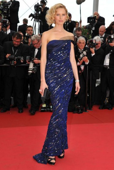 Model Karolina Kurkova wears Armani Privè at the opening ceremony of the 64th Cannes Film Festival.