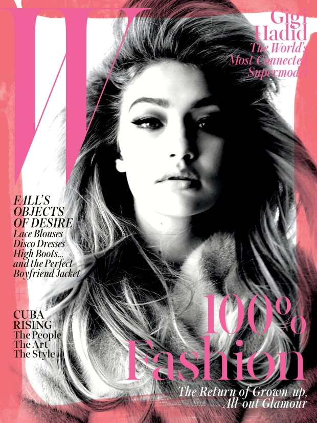 Gigi Hadid, photographed by Steven Meisel is featured on the cover of W magazine's September issue